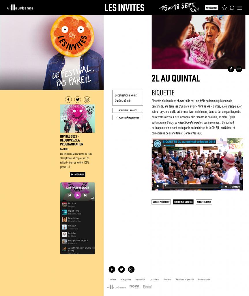 Artiste 2L sur le site des Invites de Villeubanne